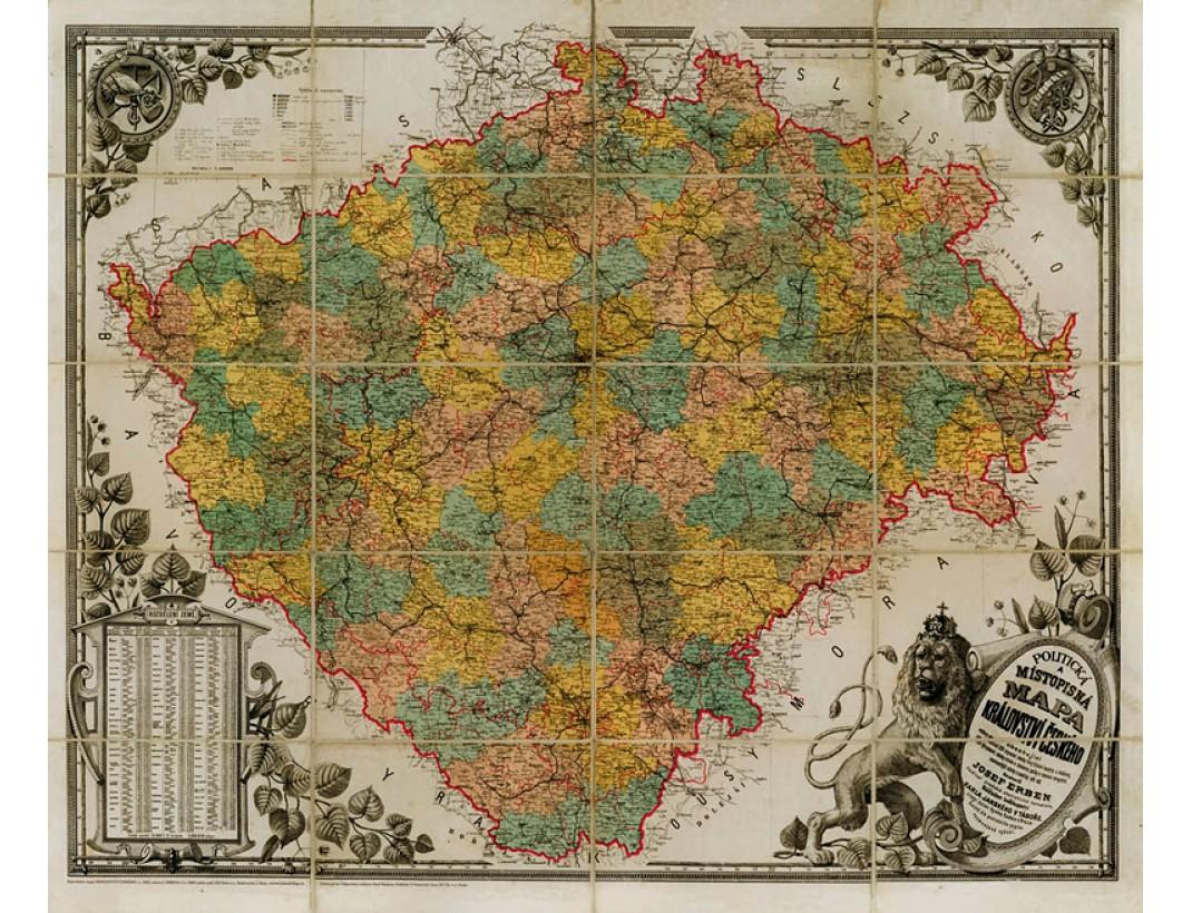 Nástěnná mapa KRÁLOVSTVÍ ČESKÉ 1883