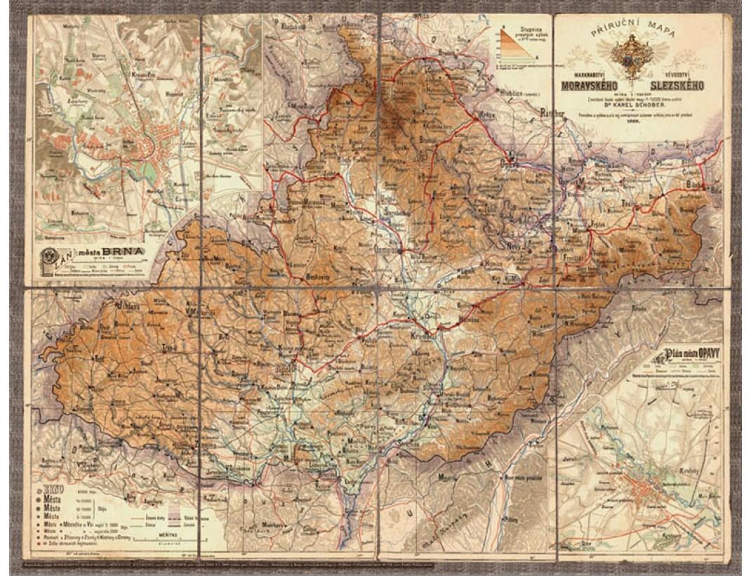 Nástěnná mapa MORAVA A SLEZSKO 1888