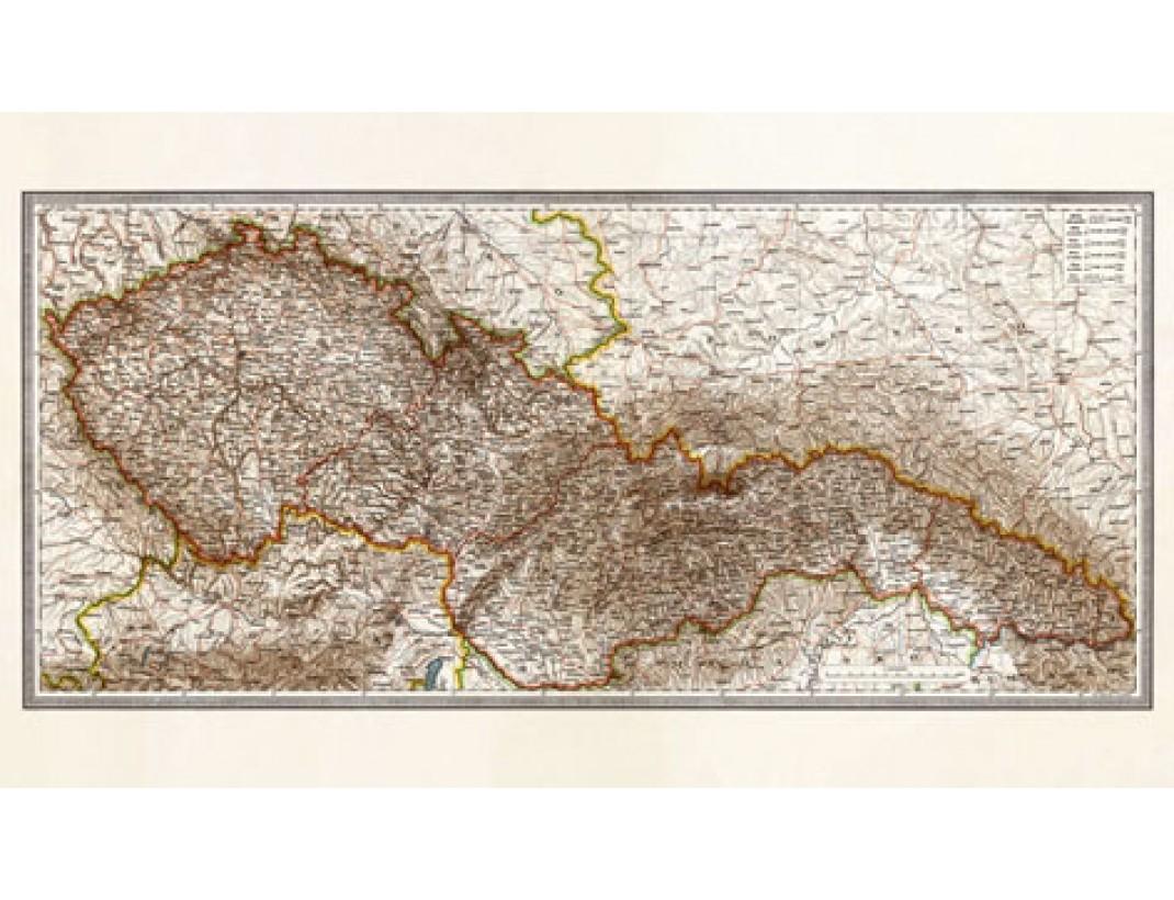 Nástěnná mapa ČESKOSLOVENSKO 1933