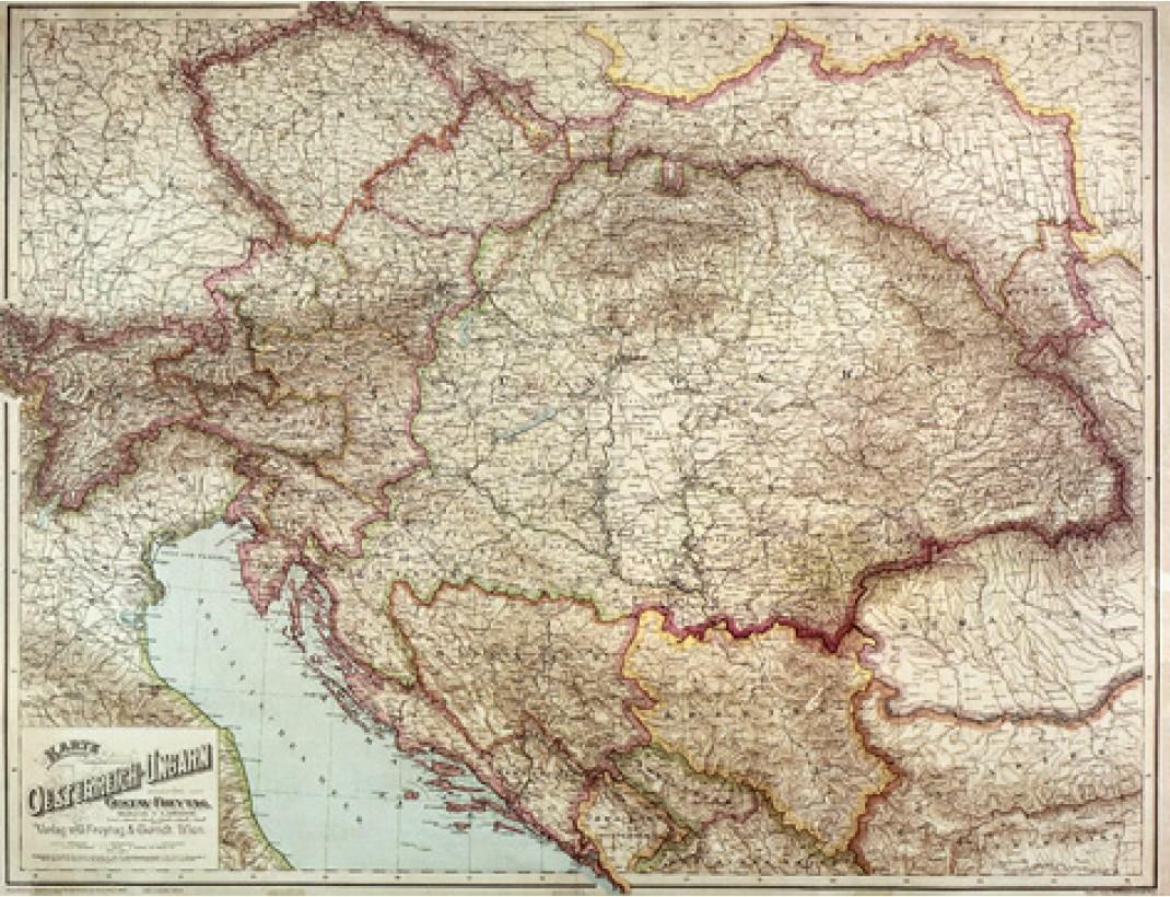 Nástěnná mapa RAKOUSKO-UHERSKO