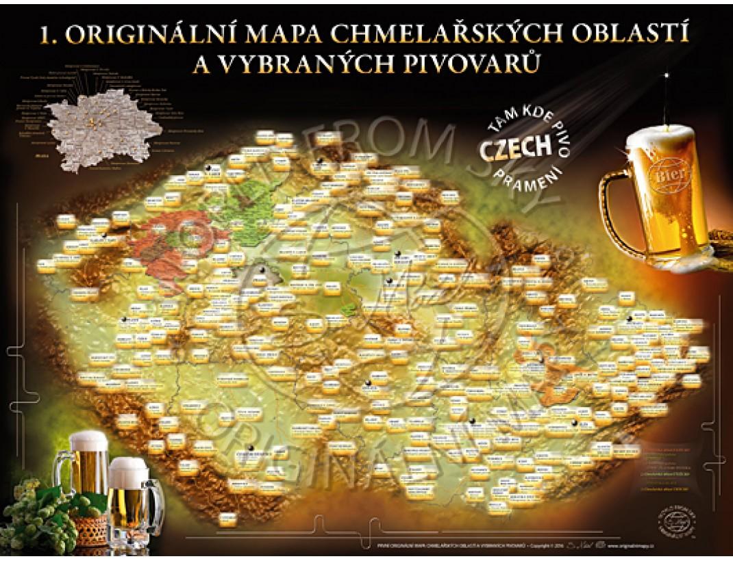 Originální mapa chmelařských oblastí a vybraných pivovarů
