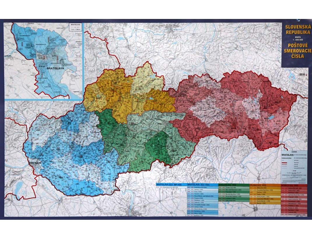 Nástěnná mapa SLOVENSKÁ REPUBLIKA PSČ