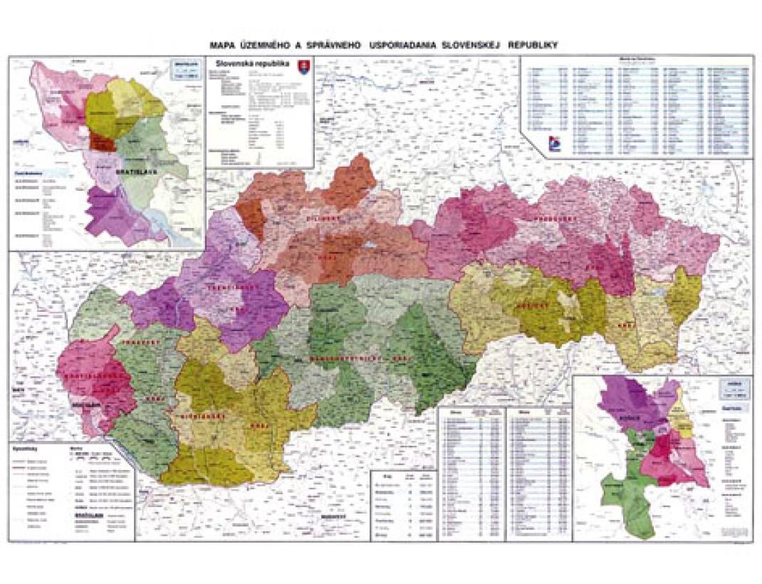 Nástěnná mapa SLOVENSKO ADMINISTRATIVNÍ
